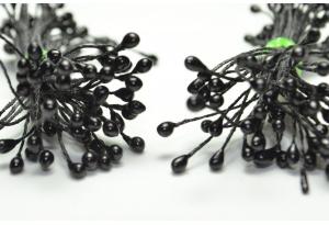 Тычинки для цветов маленькие, 3 мм, длина нити 6 см, в пучке 100 тычинок, черные