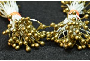 Тычинки для цветов маленькие, 3 мм, длина нити 6 см, в пучке 100 тычинок, темно-золотые