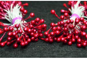 Тычинки для цветов маленькие, 3 мм, длина нити 6 см, в пучке 100 тычинок, темно-малиновые
