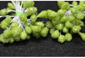 Тычинки для цветов крупные сахарные, 5 мм, длина нити 6 см, в пучке 50 тычинок, салатовые