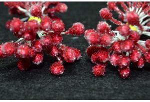 Тычинки для цветов крупные сахарные, 5 мм, длина нити 6 см, в пучке 50 тычинок, темно-красные