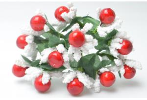 Веточка с круглыми ягодками, белая с красным, в пучке 12 веточек