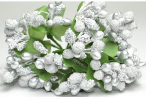 Веточка, тычинки летние, серебрянные, в пучке 12 веточек