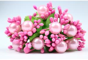 Веточка с шариками, темно-розовая, в пучке 10 веточек