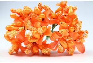 Веточка, цветок с тычинками, оранжевая, в пучке 10 веточек