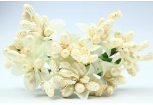 Веточка, цветок с тычинками, кремовая, в пучке 10 веточек