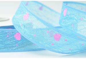 Лента декоративная с сердечками, 2.5 см, голубая