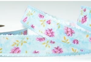 Лента гобелен с цветами и кружевным краем 2.5 см, голубая