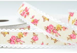 Лента гобелен с цветами и кружевным краем 2.5 см, кремовая