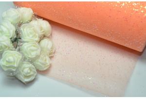 Фатин с мелкими блестками, 15 см, персиковый