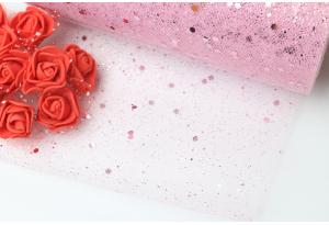 Фатин с крупными блестками, 15 см, розовый