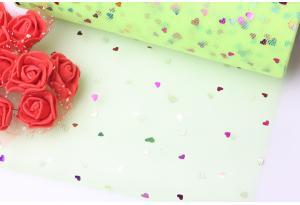 Фатин с сердечками, 15 см, салатовый