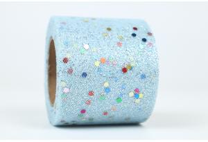 Фатин с глиттером и кнопочкой, 5,5 см, голубой