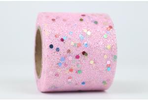 Фатин с глиттером и кнопочкой, 5,5 см, розовый
