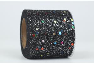 Фатин с глиттером и кнопочкой, 5,5 см, черный