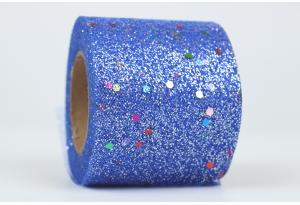 Фатин с глиттером и кнопочкой, 5,5 см, синий