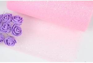 Фатин с мелкими блестками, 15 см, розовый
