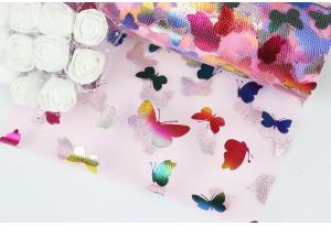 Фатин с бабочками, 15 см, розовый