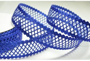 Кружевная лента сеточкой, 2.3 см, синяя
