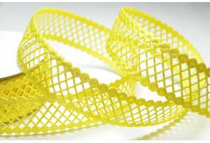 Кружевная лента сеточкой, 2.3 см, желтая