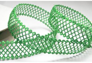 Кружевная лента сеточкой, 2.3 см, зеленая