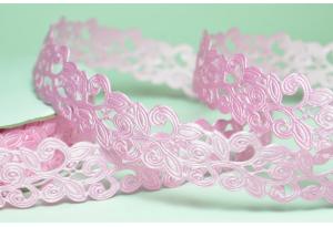 Лента резная Вензель 2 см, розовая