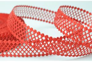Кружевная лента сеточкой, 2.3 см, красная
