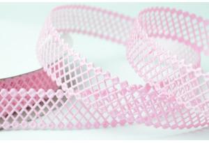 Кружевная лента сеточкой, 2.3 см, розовая