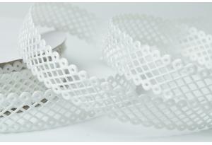Кружевная лента сеточкой, 2 см, белая
