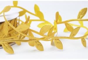 Лента резная Листики 2,5 см, золотая