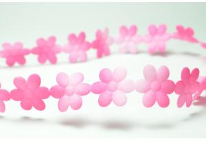 Лента резная Цветочек 2 см, ярко-розовая