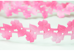 Лента резная Цветочек с листиком 3 см, ярко-розовая
