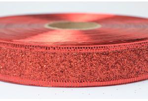 Лента новогодняя 2.5 см, однотонная с люриксом и жестким краем, красная