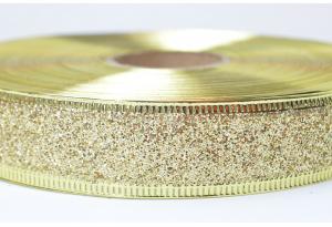 Лента новогодняя 2.5 см, однотонная с люриксом и жестким краем, золото