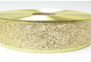 Лента новогодняя 3.8 см, однотонная с люриксом и жестким краем, золото