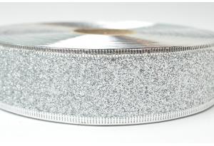 Лента новогодняя 3.8 см, однотонная с люриксом и жестким краем, серебро