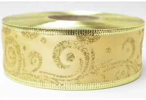 Лента новогодняя 3.8 см, с рисунком Вьюга и жестким краем, золото на золотом