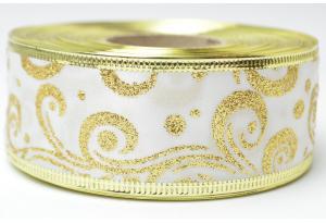 Лента новогодняя 3.8 см, с рисунком Вьюга и жестким краем, золото на белом