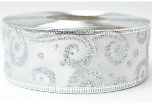 Лента новогодняя 3.8 см, с рисунком Вьюга и жестким краем, серебро на белом