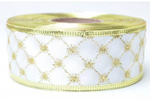 Лента новогодняя 3.8 см, с рисунком Ромбик и жестким краем, золото на белом