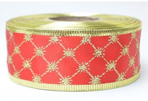 Лента новогодняя 3.8 см, с рисунком Ромбик и жестким краем, золото на красном