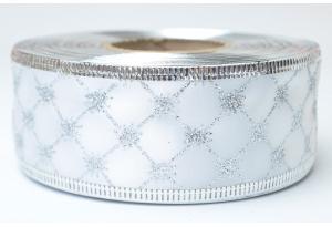 Лента новогодняя 3.8 см, с рисунком Ромбик и жестким краем, серебро на белом
