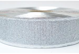 Лента новогодняя 3.8 см, с сеткой и жестким краем, серебро