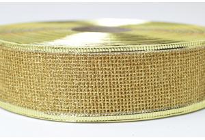 Лента новогодняя 3.8 см, с сеткой и жестким краем, золото