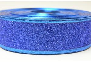 Лента новогодняя 3.8 см, однотонная с люриксом и жестким краем, синяя