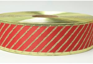 Лента новогодняя 3.8 см, с рисунком Косая полоса и жестким краем, золото на красном