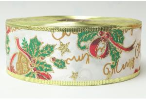 Лента новогодняя 5.0 см, с надписью Merry Christmas и жестким краем, белая с зеленым