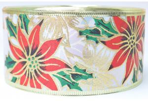 Лента новогодняя 6.3 см, с рисунком Рождественник и жестким краем, белая (зеленые листики)