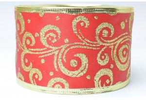 Лента новогодняя 6.3 см, с рисунком Вьюга и жестким краем, золото на красном