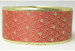 Лента новогодняя 6.3 см, с рисунком Завитушки и жестким краем, золото на красном